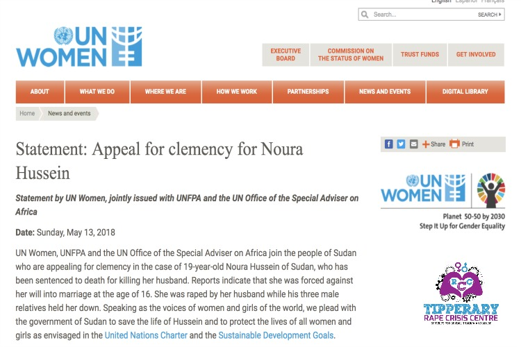 UN Women statement for appeal for clemency for Noura Hussein